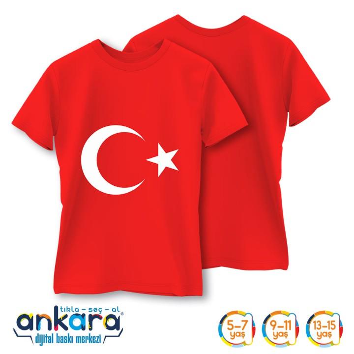 Türk Bayrağı Baskılı Tişört Çocuk