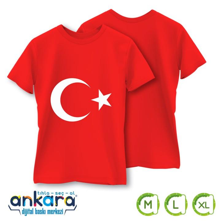 Türk Bayrağı Baskılı Tişört Yetişkin